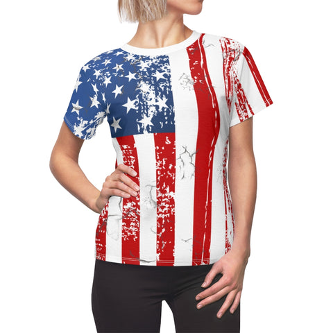 Image of Faded Flag Women's Allover Print T Shirt