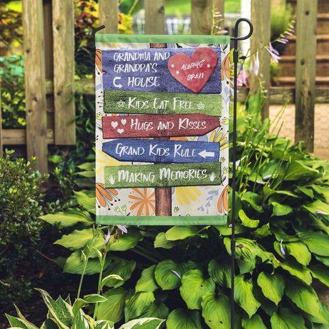 Grandkids rule grandparents yard garden flag