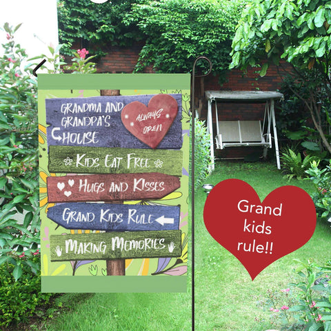 Grandkids Rules Yard Flag Grandparents Flag
