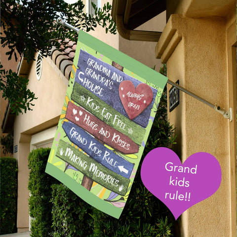 Image of Grandkids Rules Yard Flag Grandparents Flag