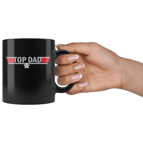 Personalized Top Dad Black Mug