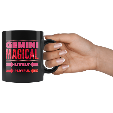 Image of Gemini Astrology Quote Black Mug
