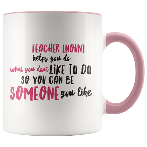 Image of teacher appreciation custom white mug pink handle