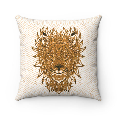 Image of lion pillowcase mandala gold white