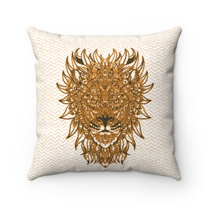 lion pillowcase mandala gold white