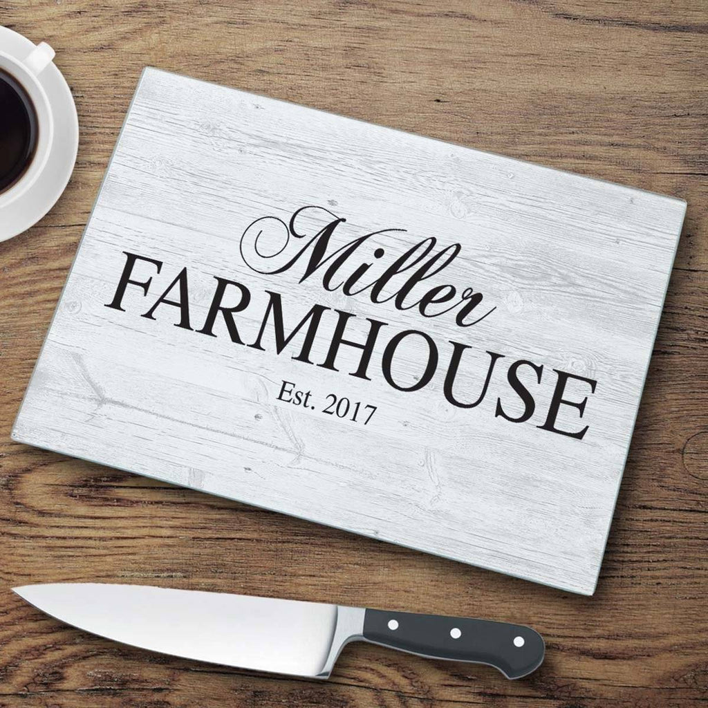 "Personalized Family ""Farmhouse"" Glass Cutting Board"
