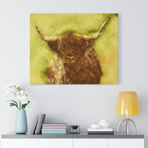 Image of scottish cow graphic canvas wrap wall art