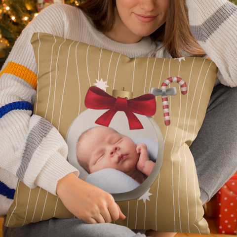 Image of personalized christmas photo pillow