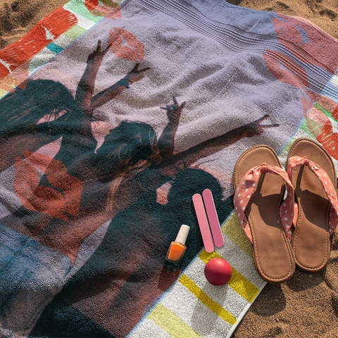 Image of photo beach towel lip prints