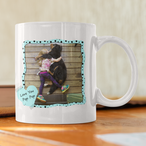 love you pop pop personalized photo white coffee mug