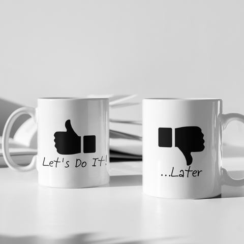 couples funny coffee mugs lets do it later