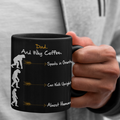 neanderthal black coffee mug