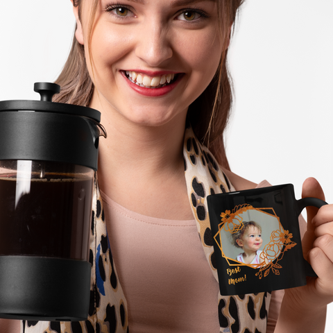 Image of personalized gift for mom black photo mug