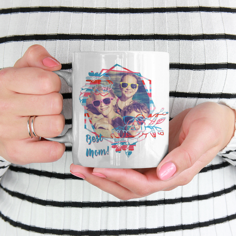 Image of personalized photo mug colored handle mom gift