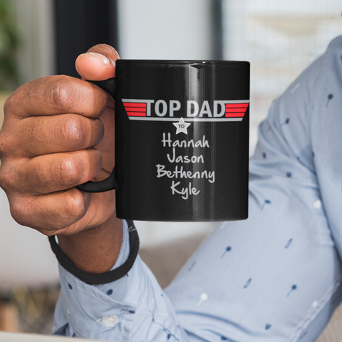 Image of top dad personalized black mug add names