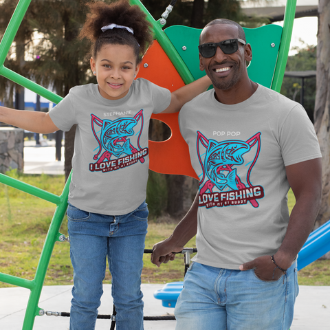 fishing buddies dad and kids shirts