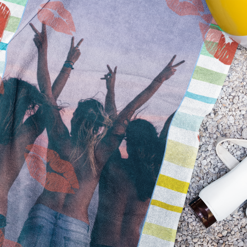 photo beach towel lip prints