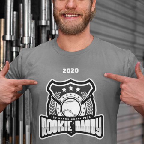 rookie daddy gray t shirt add personalization