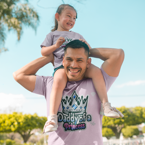 Image of daddy daughter matching shirts princess king