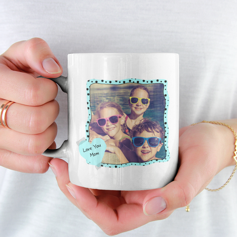 Image of love you mom personalized white mug add photo