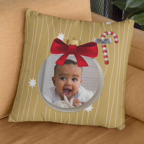 Image of personalized photo pillow christmas