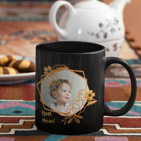 Image of best mom black photo mug