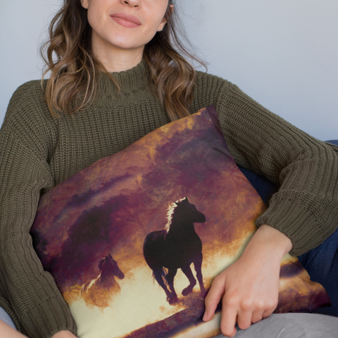 Image of wild horses pillowcase