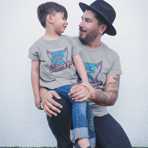 dad and child fishing buddies matching shirts