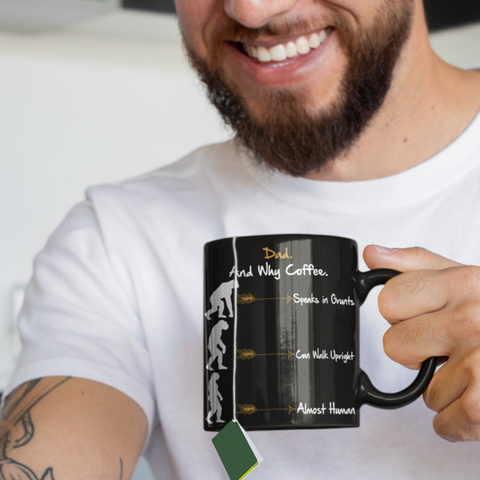 neanderthal black coffee mug dad gift