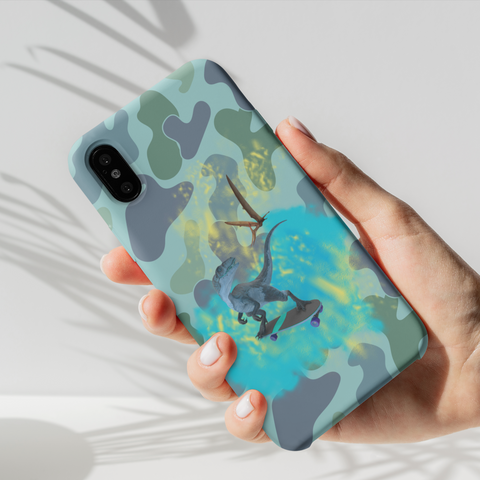 Image of t-rex on skateboard camo iphone case