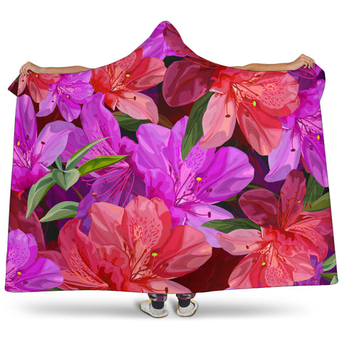 Image of bright floral hooded blanket