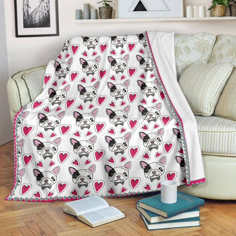 Image of French Bulldog Hearts Blanket