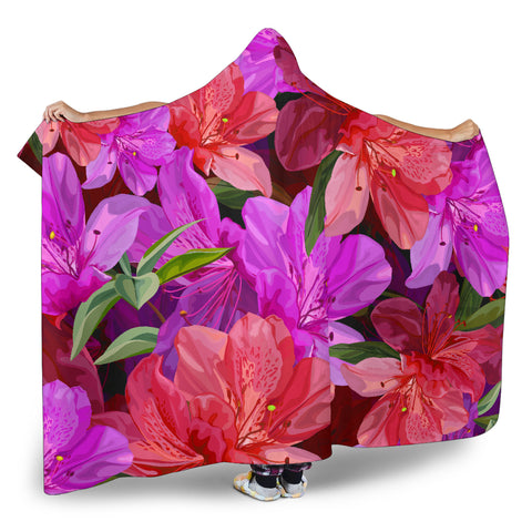 Image of pink flowers hooded blanket
