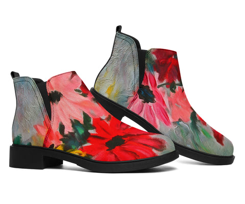 Image of art print vegan suede fashion boots
