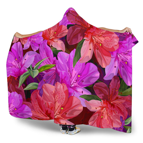 Image of floral hooded blanket adult and youth