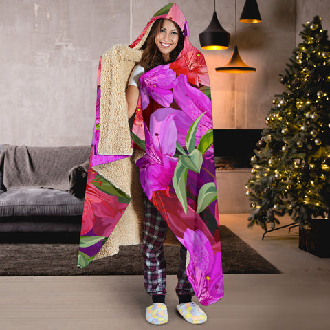 Image of pink azaleas hooded blanket
