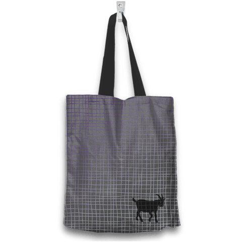 Image of No Goats No Glory Tote Bag Two Sides Two Designs in Gray Back View
