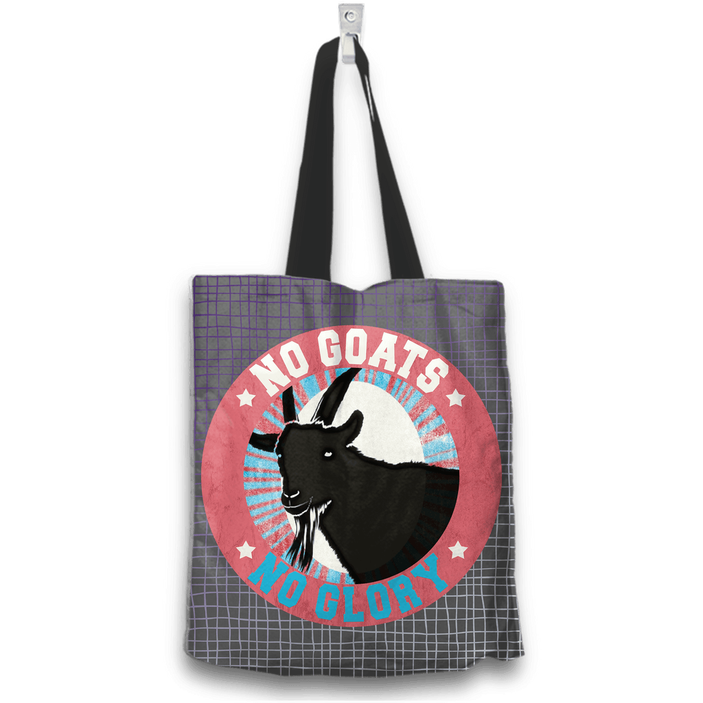 No Goats No Glory Tote Bag Two Sides Two Designs in Gray