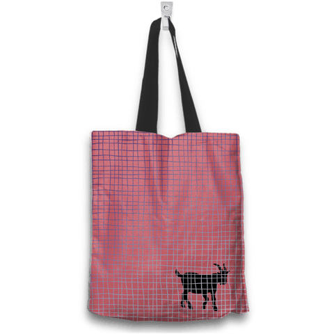 Image of No Goats No Glory Tote Bag Two Sides Two Designs in Red Back View
