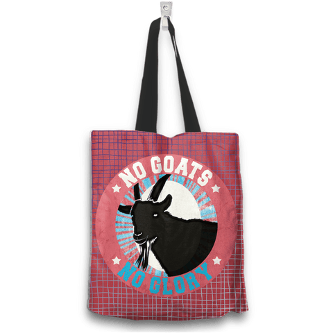 Image of No Goats No Glory Tote Bag Two Sides Two Designs in Red
