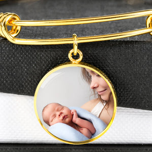 gold circle photo bracelet inscribed