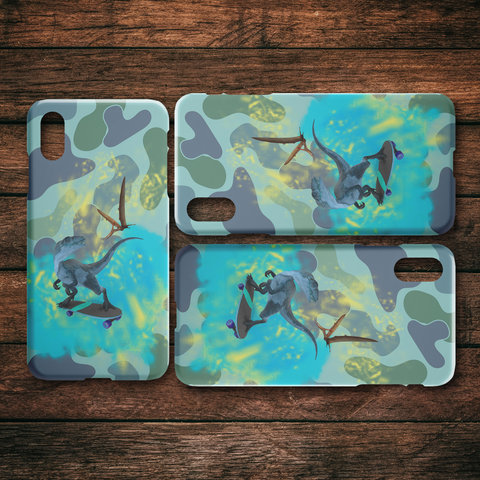 Image of T-Rex On Skateboard Dinosaur Camo iPhone Case