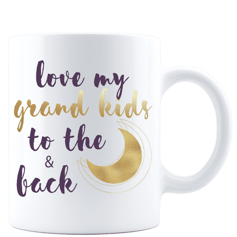 Love My Grandkids to the Moon and Back White  Mug