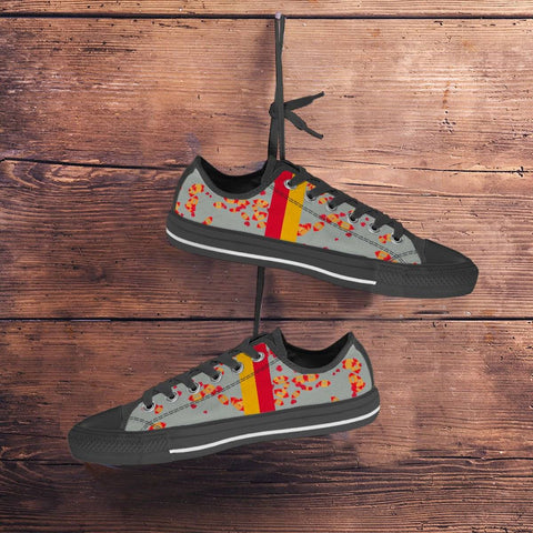 Image of Iowa State Cyclones Unofficial Women's Low Top Sneakers Cardinal and Gold Kisses and Hearts