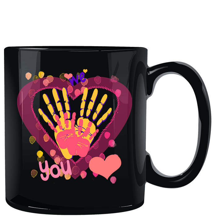 We Heart You Handprints Black Mug