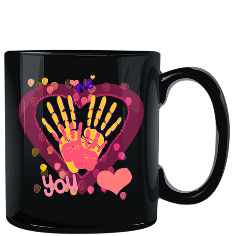 Image of We Heart You Handprints Black Mug