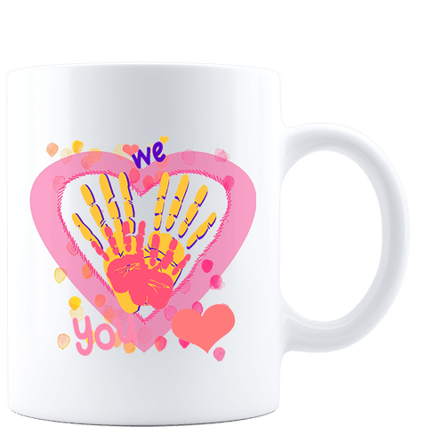 We Heart You Handprints White Mug