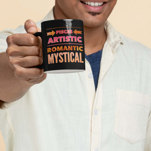 man holding a pisces astrology traits horoscope custom black mug