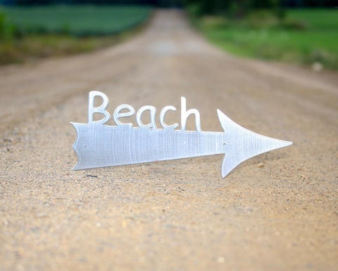 Image of beach sign arrow silver