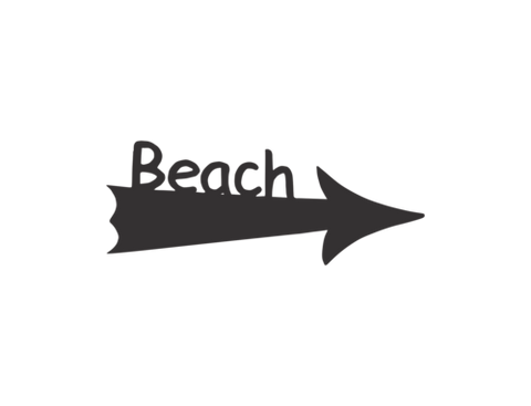 beach sign arrow black